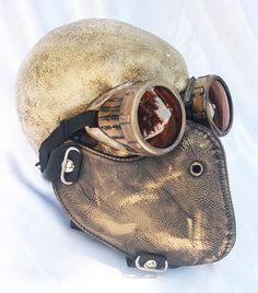 2 pc. set of Gold - Brass Distressed Look Steampunk Dust Riding MASK with Matching GOGGLES - A Burning Man Must Have