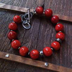 SIMPLY RED, coral bracelet, red coral, sterling silver, red bracelet by pieceofmysoulArt on Etsy