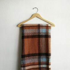 Vintage 1950s Brown Plaid Wool Throw Blanket by WildWhisperShop