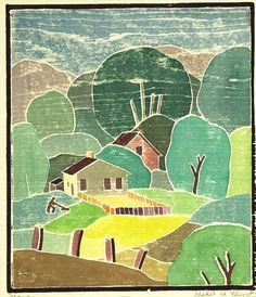 "Mabel Hewit (1903-1984) ""Mowing"", color woodcut"