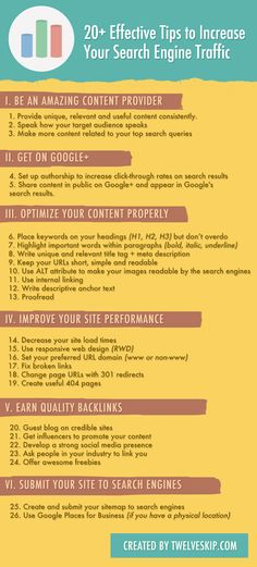 20+ Most Effective Tips to Increase Your Search Engine Traffic @ http://www.twelveskip.com/marketing/seo/1087/ways-to-get-visitors-from-search-engines
