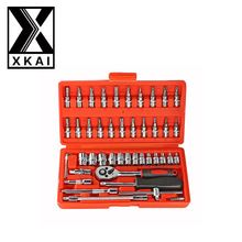 US $7.18 XKAI 46pc High Quality Socket Set Car Repair Tool Ratchet Set Torque Wrench Combination Bit a set of keys Chrome Vanadium. Aliexpress product