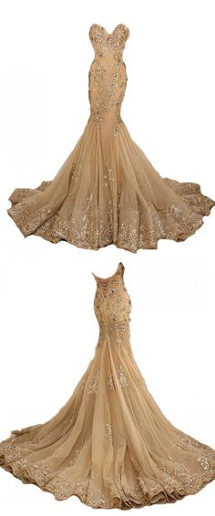 Long Sweetheart Neck Lace Appliques Gold Lace-Up Mermaid Prom Dresses_Formal Evening Gowns