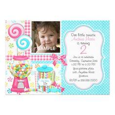 Candy and Gumballs Girls Photo Birthday Invitation.  $2.15