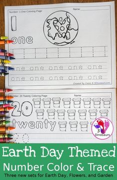 No-Prep Earth Day Themed Number Color & Trace Printables Learning Multiplication, Teaching Math, Kindergarten Math, Earth Day Activities, Activities For Kids, Spring Activities, Number Tracing, Earth Day Crafts, Numbers For Kids
