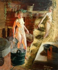 Ingrid Linnea Ruin, née Lignell (Finnish painter) 1881 - 1956 Two Girls in a Sauna, 1914 oil on canvas x cm. signed and dated 1914 l. Female Painters, Portraits, Online Painting, Paintings Online, Two Girls, Sculpture, Erotic Art, Paintings For Sale, Female Art