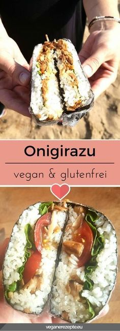 Onigirazu are currently the big hit. A sandwich based on rice and a filling of your choice. Quasi like the popular Onigiri from Japan. Onigirazu with jackfruit: delicious & gluten free Vegetarian Lifestyle, Vegetarian Recipes, Sushi Vegan, Fish Recipes, Asian Recipes, Onigirazu, Cake Vegan, Japanese Diet, Vegan Gluten Free
