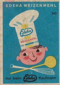 german matchbox label-It sure looks like cooking with their flour is loads of fun.