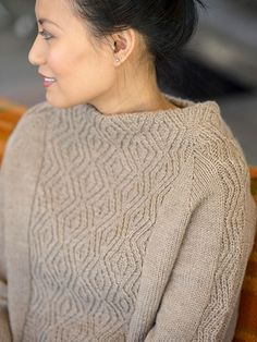 A wide panel of traveling twisted stitches forms both the stand-up collar and main body of this sweater from designer Allison Jane. The stitch pattern is mirrored in the sleeves, which are shaped with raglan increases. Cables are charted. How To Start Knitting, How To Purl Knit, Sweater Knitting Patterns, Knitting Stitches, Filet Crochet, Knit Crochet, Cable Sweater, Collar Pattern, Lace Patterns