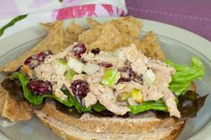 Way better than what you'll find in the deli case: vegan Chik'n Salad with Cranberries and Pistachios.