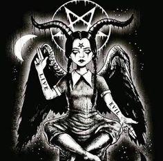 Wednesday Addams as Baphomet Baphomet, Satanic Tattoos, Satanic Art, Fantasy Kunst, Dark Fantasy Art, Arte Horror, Horror Art, Satan Drawing, Age Of Mythology