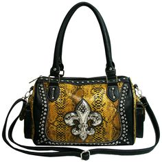 Western Bling Rhinestone Fleur De Lis Accent Purse -Yellow. made of high quality faux leather. Rhinestones fleur de lis accent on front. Vintage floral lined interior. Interior features a back wall zip pocket & front wall multifunctional pockets. Exterior feature 1 back zippered pocket. Two sides pockets with magnetic snap closu. top zipper closure. Dual handle with 8'' drop length. Removable long shoulder strap. Approx. Size: L14''x H9''x 6''.