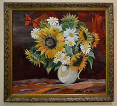 Sunflowers in vase warm glass picture