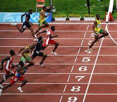 Usain Bolt celebrating another broken world record