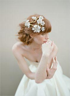 Twigs & Honey headpiece: http://twigsandhoney.com Photo: Elizabeth Messina Dress: Leanne Marshall