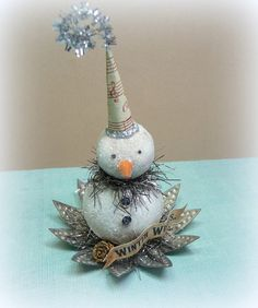 Holiday Decor Antique Punched Tin Light Reflector Vintage Inspired Snowman Figurine Cottage Chic Folk Art Christmas Ornament