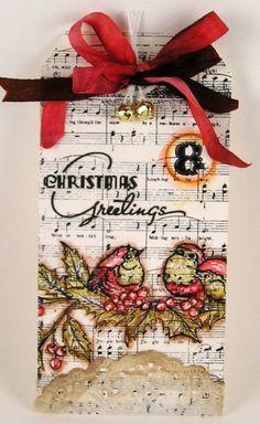 Beautiful Christmas tag- music & birds
