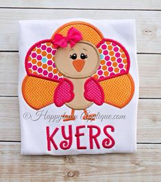 Turkey Girl Machine Embroidery Applique by HappytownApplique, $4.00