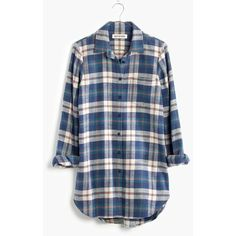 MADEWELL Rivet & Thread Flannel Slim Tunic Shirt in Hailey Plaid (6620 DZD) ❤ liked on Polyvore featuring tops, shirts, flannel, hailey plaid, long flannel shirts, long plaid shirt, long shirts, plaid button up shirts and blue button up shirt