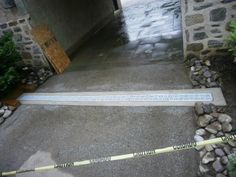 A steep driveway led to a massive amount of water running into this carport. One surface drain to the rescue! Driveway Drain, Mason Homes, Driveways, Garden Landscaping, Surface, Led, Running, Rock, Water