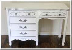 See what a little metallic paint can do!! (This is exactly what my desk looks like) need/want!!!