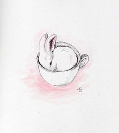 Bunny in tea cup by ... Ok Draw - a graphic designer and illustrator