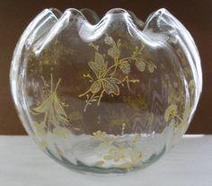 GORGEOUS 1890s-1920s ART NOUVEAU Hand Painted GOLD Glass ROSEBOWL Rose Bowl VASE