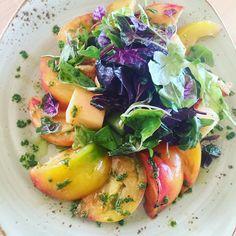 Panzanela Salad, Scarborough Farms Heirloom Tomatoes, Cantaloupe, Honeydew Melon, Croutons, Cucumber, Scarborough Farms Mixed Greens, Balsamic Vinaigrette #meatlessmonday #yelp #scarborough #local #organic