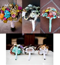 Beautiful Brooch Bouquets by FantasyFloral,  From heirloom pieces, to brand new modern designs, these custom bouquets provide an unusual, yet truly spectacular detail for your wedding.- Lucky in Love Wedding Planning Blog - Seattle Weddings at Banquetevent.com
