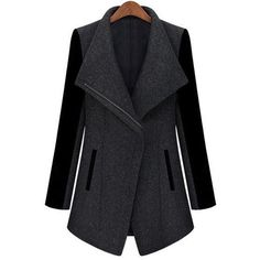 Elegant Turn-Down Collar Zippered Long Sleeve Spliced Wool Coat For... (112,475 KRW) ❤ liked on Polyvore featuring outerwear, coats, woolen coat, zipper coat, zipper wool coat, wool coat and women plus size coats