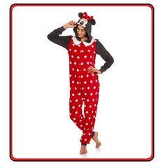 MINNIE MOUSE One Piece Womens Disney Costume Pajamas union suit Hoodie  POLKA DOT  Disney   134cab02d
