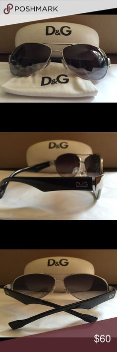 D&G Men's Sunglasses with silver/metal frame. Gently used- Authentic silver/metal frame with black arms. Gray gradient polarized lens. 100% UV protection. Includes D&G case and cloth. D&G Accessories Sunglasses