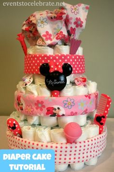Diaper Cake Tutorial - Events To Celebrate Diaper Cakes Tutorial, Cake Tutorial, Princess Diaper Cakes, Mom And Baby, Baby Baby, Birthday Week, Disney Theme, Throw A Party, Animal Party