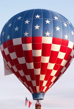 Fourth of July-Flag Hot air balloon-Albuquerque Balloon Fiesta Air Balloon Rides, Hot Air Balloon, Zantangle Art, Albuquerque Balloon Fiesta, Air Ballon, Old Glory, God Bless America, Red White Blue, Ciel