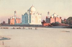 For the largest collection of century Japanese woodblock prints and East Asian contemporary art, including Approach to Agra no 3 by Hiroshi Yoshida, visit Ronin Gallery in NYC today! Japanese Prints, Japanese Art, Hiroshi Yoshida, Taj Mahal, Art Occidental, Poster Prints, Art Prints, Block Prints, Japanese Painting