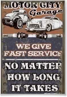 Road Signs, Vintage Garage Signs & Car Mechanic Art | Signs by Andrea