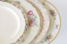 Mismatched Vintage Plates Set of 4 Dinner by RosebudsOriginals
