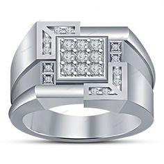 Men's Special Band Ring in 14K White Gold Fn Round D/VVS1 Diamond Sz 7 To 14 AVL #beijojewels #MensBandRing #EngagementAnniversaryPromiseValentines