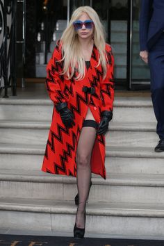 Lady Gaga Is Rocking In Red With A Thigh High Slit