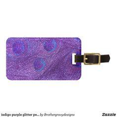 indigo purple glitter peacock feathers
