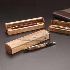 """A finely crafted turned pen deserves an equally impressive presentation box. This easy-to-build scrap project requires minimal stock but yields spectacular results. The key is to use a 5/8"""" core box bit and a pair of stops at the router table to form the pen-holding coves. (This plan by Marlen Kemmet was originally published in the Oct/Nov 2013 issue of Woodcraft Magazine.)"""