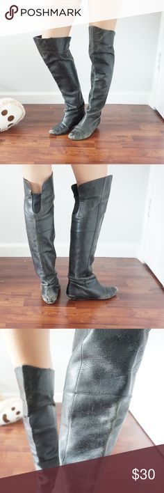 Steve Madden REAL LEATHER boots Over the knee pointed toe - scuffed for added character - possibly my favorite boot - just needs to be re-soled Steve Madden Shoes Over the Knee Boots