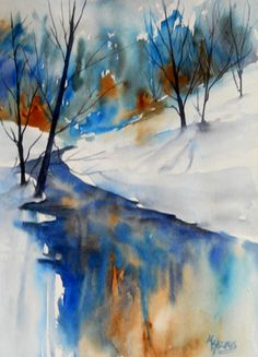 BLUE REFLECTIONS   Watercolor 11x15   SOLD       I love painting snow in watercolor because I can fully utilize the white of the paper, k...