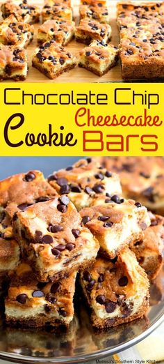 Chocolate Chip Cookie Cheesecake Bars are what happens when chocolate chip cookies and cheesecake collide. Chocolate Chip Cookie Cheesecake, Desserts With Chocolate Chips, Easy Chocolate Chip Cookies, Low Carb Cheesecake, Cheesecake Cookies, Chocolate Chip Recipes, Cheesecake Recipes, Cookie Recipes, Dessert Recipes