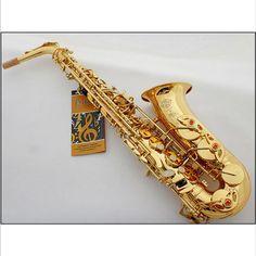 EMS Shipping France Henri Selmer Saxophone Alto 802 e Musical Instrument Alto Sax Gold Curved Saxfone Mouthpiece Electrophoresis