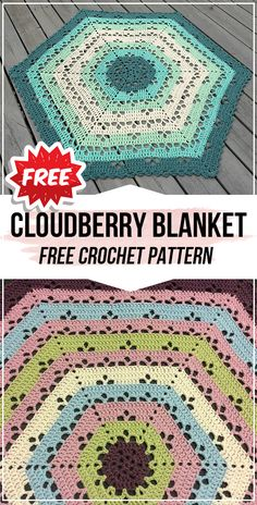 crochet Cloudberry Blanket free pattern - easy crochet blanket pattern for beginners Crochet Hexagon Blanket, Crochet Baby Blanket Free Pattern, Baby Afghan Crochet, Afghan Crochet Patterns, Crochet Blankets, Free Crochet, Crochet Rugs, Crochet Afgans, Crochet Squares