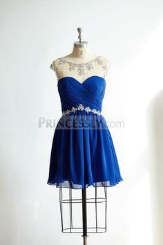 Sheer Illusion Neck Keyhole Back Royal Blue Chiffon Short Prom Party Dress