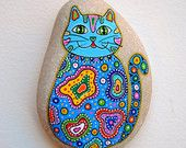Hand Painted Stone Cat