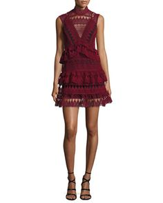 Sleeveless+Tiered+Lace+Mini+Dress,+Burgundy+by+Self-Portrait+at+Neiman+Marcus.