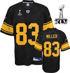 25f940f93 Steelers  83 Heath Miller Black With Yellow Number Super Bowl XLV  Embroidered NFL Jersey!
